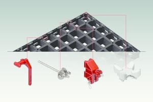 Konstruktive Intelligenz: Die konsequent multifunktional ausgebildete Trägerlage ermöglicht die doppelte Verwendung als Wand- und Deckenschalung. Von links nach rechts: Verbinder, Schalungsanker, Richtstützenanschluss, Stützkopf