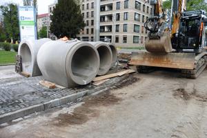 Neben den Sonderbauwerken kommen beim Projekt Stadtbahn Dresden 2020 noch zahlreiche weitere FBS-Stahlbetonrohre DN 1200 mit Trockenwetterrinne zum Einsatz.