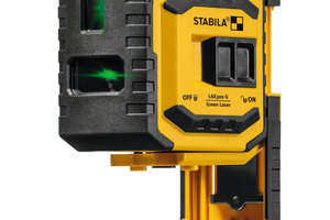 Selbstnivellierender KreuzlinienLot-Laser Type LAX 300 G: Eine Horizontal-Linie, eine Vertikal-Linie, Lot-Punkte nach oben und unten, ausziehbarer Fuß.
