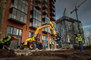 Der Hydradig von JCB bietet müheloses Arbeiten auf beengten Stadtbaustellen mit perfekter Rundumsicht und massive Standfestigkeit.