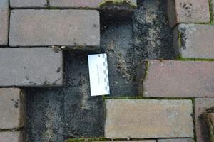 11 Belastete Probestelle, Fugenmaterial befindet sich unter dem Stein.