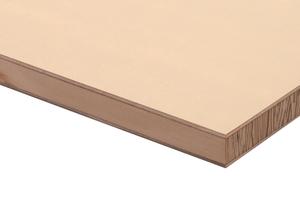 Die Magnoplan Universal ist eine Stäbchensperrholzplatte aus drei Schichten: Die Mittellage bilden Schälfurnierstreifen, die hochkant zur Plattenebene stehen. Umschlossen wird diese Mittellage von beidseitig quer aufgeleimten Deckfurnieren.