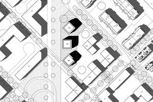 Die drei Punkthäuser sind jeweils zueinander um 45 Grad gedreht und passen sich städtebaulich optimal ins Umfeld ein.