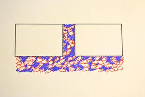 Abbildung 5: Schematische Darstellung Fugen- und Bettungsmaterial aus Sand-Splitt-Gemisch mit Ausweichneigung bzw. Ausweichpotential.