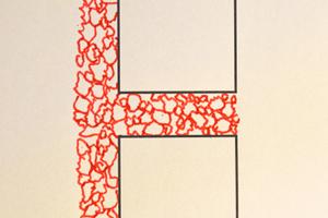 Abbildung 4: Schematische Darstellung Fugen- und Bettungsmaterial aus grober Gesteinskrönung ohne Ausweichneigung bzw. Ausweichpotential.