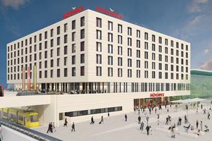 Wolff & Müller baut das neue Vier-Sterne-Kongresshotel am Stuttgarter Flughafen. Der Entwurf stammt von den Ulmer Architekten Mühlich, Fink & Partner.