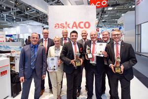 """Gleich vier """"Stein im Brett"""" Awards erhielt die Aco Gruppe in den Kategorien Tiefbau, Regenwassermanagement, Flächenentwässerung außen und Flachdachentwässerung.<br />"""