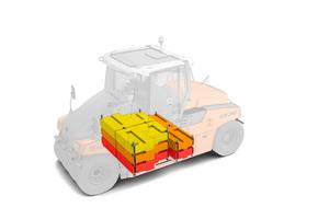 Im Ballastraum der GRW 280i können Zusatzgewichte von max. 17 t eingesetzt und kombiniert werden – selbst auf der Baustelle.