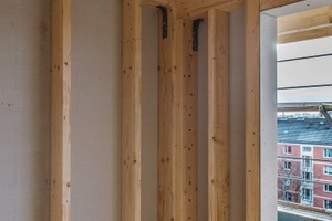 Die brandschutztechnisch wirksame Bekleidung der Holzkonstruktion wurde mit Fermacell-Gipsfaserplatten ausgeführt.