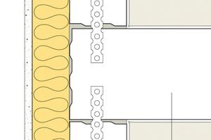 Sichere Ausführung bei flankierenden Bauteilen: Trennwand durchgehend, Bauteile stumpf angeschlossen.