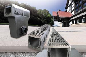 Bei den Rinnen und Sinkkästen aus Polymer-Beton zieht sich die einheitliche Optik durch alle Ausführungen und Belastungsklassen.<br />