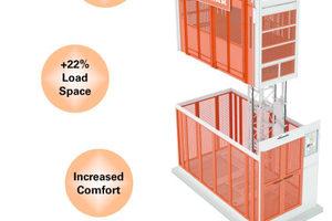 Der aufgerüstete Aufzug bietet mehr Tragfähigkeit, eine größere Kabine und einen besseren Fahrkomfort.