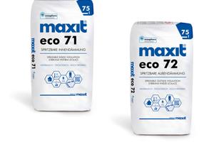 Die spritzbare Innen- (Eco 71) und Außendämmung (Eco 72) sind in 75-l-Säcken erhältlich, ...