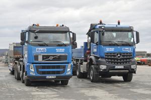 Wo die Lastwagen auftauchen, erkennt man schnell, dass die Firma Raab im Einsatz ist.