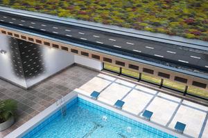 Begrünte Dachflächen: Foamglas hält den hohen mechanischen und thermischen Belastungen und Umwelteinflüssen stand.<br />