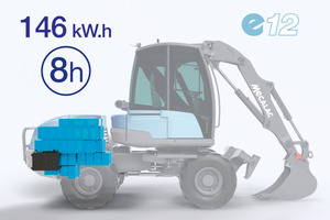 """Mit dem e12 schlägt Mecalac ein neues Kapitel auf: Das """"e"""" steht hier für elektrisch, emissionsfrei, ökologisch und mustergültig."""