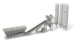 Die Betonmischanlage kann eine Stundenleistung bis zu 128 Kubikmeter erzielen.<br />