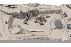 """Von der Sprengstelle führt ein Bagger kontinuierlich Gestein in den Brecher ein, wodurch das Gestein auf unter 300 mm reduziert wird. Das zerkleinerte Gestein wird dann in einen autonomen elektrischen Ladungsträger HX2 abgeladen. Wenn der HX2 voll ist, transportiert er das Gestein in einen Zufuhrtunnel, wo es zum Sekundärbrecher befördert wird. Auf dem Rückweg hält der HX2 nur eine Minute lang am Ladegerät an, um genug Energie für einen weiteren Zyklus zu erhalten. Da die Gesteinsbrecher nicht stoppen können, werden mehrere HX2 eingesetzt, um eine kontinuierliche Produktionslinie sicherzustellen. Der gesamte Ablauf lässt sich mit Hilfe der kostenlosen App """"Volvo AR Stories"""" nachvollziehen, die für Android- und Apple-Smartphones erhältlich ist."""