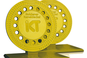 Eine begehrte Trophäe: Goldener Kanaldeckel des IKT. (Quelle: IKT)