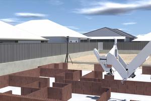Der Bauroboter Hadrian X ist für die Arbeit im Freien optimiert und kann Wohnbauten vollautomatisiert errichten.<br />