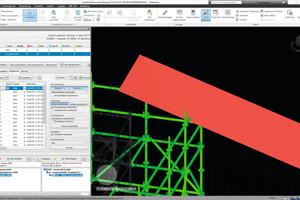 Durch die 3D-Planung mit Layplan CAD im Rahmen des Layher SIM-Prozesses konnten Kollisionen mit Hindernissen – wie im Bereich der Dachsparren – schon im Vorfeld vermieden werden.