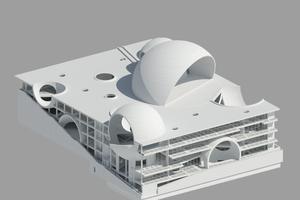 Der Oceanic Pavillon kombiniert Wasserbassins mit monumentalen, halb angeschnittenen Kugelflächen.