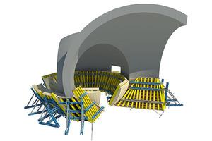 Die Schalungskomponenten für die Kugelelemente wurden in 3D geplant und im Doka-Fertigservice produziert.