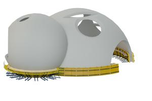 Für die Kugelformen werden maßgeschneiderte Sonderschalungen vom Doka-Fertigservice verwendet.