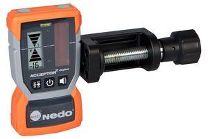 Nedo hat den Laserempfänger Acceptor<sup>2</sup> für Rotationslaser überarbeitet und bietet nun eine digitale Anzeige zur Bestimmung der Höhenabweichung in Millimeter an.