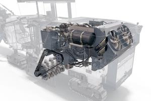 """Das neue 2-Gang-Lastschalt-getriebe """"Dual Shift"""" ermöglicht effiziente Motordrehzahlen bei gleichzeitig leistungsfähigen Fräswalzendrehzahlen."""