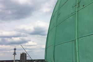 Dünnhäutig: Die Betonschale der Hochhauskuppel ist nur 60 mm dick.