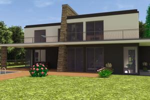 Die Villa besteht aus zwei Baukörpern, die leicht versetzt zueinander stehen.