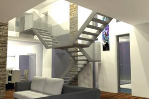 Die Treppe der Villa repräsentiert den gestalterischen Mittelpunkt des Hauses.