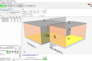 Die neue Version der Ziegel-Bauphysiksoftware Modul Schall 4.0 bietet eine 3-D-Funktion für den Nachweis innerhalb von Gebäuden. Die Parameter können damit leichter eingegeben werden. (Quelle: Lebensraum Ziegel / BVZI / AMz)