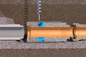 Das Fabekun-Teleskoprohr besteht aus zwei Rohrstücken, die verschieblich über eine verlängerte Muffe innerhalb eines Kunststoffmantelrohres miteinander verbunden sind. Dabei ist das Kunststoffmantelrohr auf der Muffenseite des Teleskoprohres fest über Ankerbolzen mit dem Beton des einen Fabekun-Rohrstückes verbunden. Das zweite Rohrstück lässt sich dagegen innerhalb des Mantelrohres verschieben.