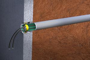 Zusammen mit dem Kabelschutzrohr Kabuflex R plus und der Pressringdichtung Kabu-Seal bildet die Innendichtung Kabu-IN das Kabuflex System, das sichere Gebäudeeinführungen über die Kellerwand realisiert.