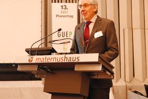 Dr.-Ing. Michael Fiebrich, BauIngenieurSozietät Sasse-Fiebrich, Aachen und Vorsitzender der GUEP, Krefeld, hier beim vorjährigen Planertag.