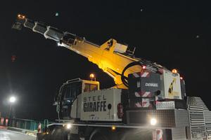 Der Dreiachser bietet eine maximale Hauptausleger-länge von 31,2 Meter, die Systemlänge erreicht bis zu 44,2 Meter.