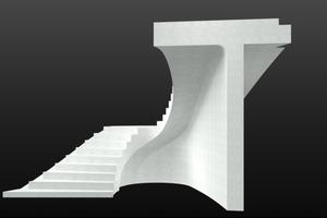 Die dreiachsig gekrümmte Oberfläche im gerundeten Überhang wurde per Sonderschalung mit zum Teil 3D-gedruckter Schalhaut betoniert.