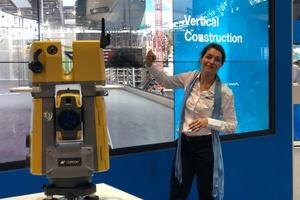 Die neue Robotik-Totalstation GTL-1000, kompetent präsentiert von Aurélie Thépaut, war das Topcon-Highlight der diesjährigen Intergeo.<br />