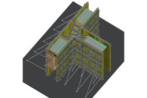 3D-Modell der Schalung für die dreiarmige Rampenstütze – die sondergefertigten Formholzkästen sind grün hinterlegt.