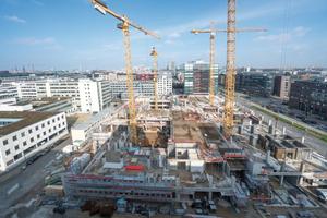 Die Olympus Campus Baustelle in der Hamburger Innenstadt: Dauer-einsatz für die Schalsysteme von Hünnebeck.