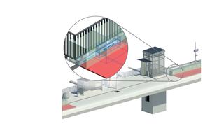 Beispiel für ein Bauteil in der Planervariante: Dargestellt sind Platzhalter für den Einbau- und Wartungsbereich sowie die angeschlossenen Entwässerungsflächen.