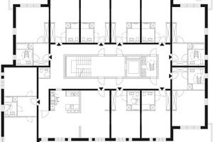 Bedarfskonzept 1 – Apartments: Studenten- oder Seniorenwohnheim mit Gemeinschaftsräumen. Das Konzept ist bereits in der Ausgangssituation variabel gehalten.