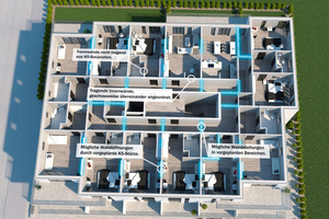 Durch den zentralen, massiven Treppenhauskern lassen sich unterschiedliche Wohnkonzepte verwirklichen.