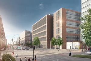 Das architektonische Konzept für den Olympus Campus erstellte das Hamburger Architekturbüro gmp. Hier: Geplante Ansicht vom Haupteingang am Heidenkampsweg.