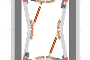 Die neue Schachtlösung im Überblick: Um das nötige Ausschalspiel für die Innenschalung von Treppenhaus- oder Aufzugsschächten zu erreichen, wird der neue Klappschacht, nachdem die beiden Spannmuttern des Gelenkschlosses geöffnet sind, über die Schraub-spindel mit Ratschenbetätigung über Eck zusammengezogen.