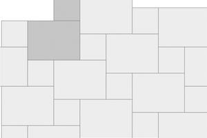 Das Jasto-Verlegemuster JM11: 14 x 14 und 28 x 21 Zentimeter große Pflastersteine werden in einem regelmäßigen, aber abwechslungsreichen Muster verlegt.