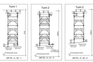Die Traggerüsttürme TG 60 im Schnitt: Sämtliche Türme hatten unterschiedliche Höhen.