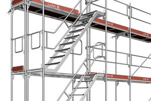 Eine Podesttreppe ermöglicht einen schnellen, sicheren und komfortablen Aufstieg im Gerüst – selbst mit Arbeitsmaterial. Der Zugang über innenliegende Aufstiege ist nur noch bis zu einer Aufstiegshöhe von 5 Metern oder bei Arbeiten an Einfamilienhäusern zulässig